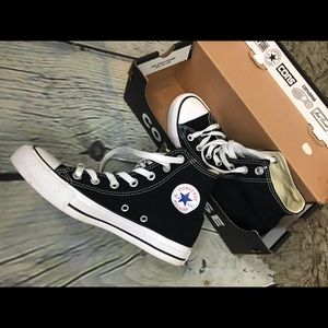 Black high top Converse All Stars sneaker shoes 6